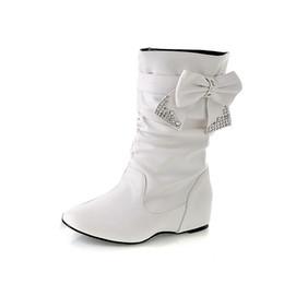 Diseño de arco de dama fiesta botas de cuña zapatos más del tamaño 35-43  mujeres primavera otoño plana larga pu de cuero suave botas de motocicleta  zapatos 18e6ae7ad7f5