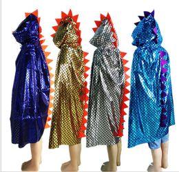 Trajes de cocodrilo online-Niño Niña Niños Niños Disfraces de Halloween Dinosaur Cloak Gown Robe With Hat Cap Cosplay Chirstmas Crocodile Animal Animal con capucha Cape