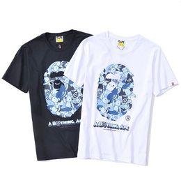 короткая рубашка Скидка Футболка с изображением головы обезьяны, пуловер с коротким камуфляжем, купальная футболка с изображением обезьяны, мужская футболка с рисунком хип-хоп