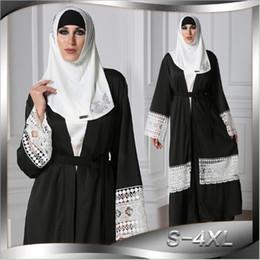arabische moslemische kleider Rabatt Muslimische Abaya Lace Maxi Tunika Musulmane Arab Dubai Mittlerer Osten Islamische Kleidung Strickjacke Kimono Lange Robe Kleider Aushöhlen