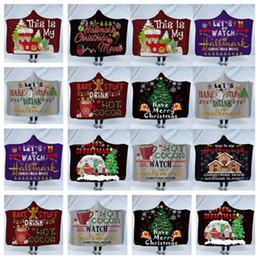 Couvertures molletonnées pour enfants en Ligne-Couverture de jet à capuche de Noël Sherpa enfants et adultes 3D imprimé Imprimés enfants couvertures d'hiver Xmas Cloak Cape châle polaire couvertureT2I5374