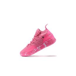 Kd тетя жемчужина черные туфли онлайн-Дешевые мужские баскетбольные кеды 11 для продажи кдс тетя жемчужно-розовая красная тройной черный пасхальный желтый кд11 кевин дюрант си кроссовки сапоги с коробкой