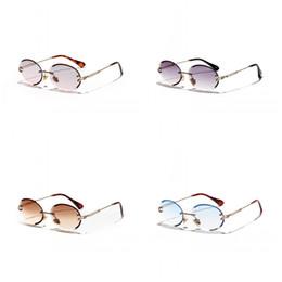 Cristal azul on-line-Corte de diamante Oval Óculos de Sol Feminino Textura de Cristal Óculos de Luz Polarizada Retro Sem Borda Óculos Azul Marrom 15xg C1