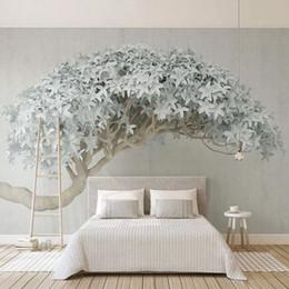 2019 tinta branca chinesa Foto papel de parede moderna 3d criativo árvore murais nórdico estilo sala de estar quarto home decor art pintura de parede papel de parede 3 d