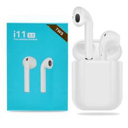 iphone bluetooth headphones Скидка I11 TWS Беспроводные Bluetooth-наушники с всплывающим окном Twins Mini Earbuds для iPhone X IOS Android i11 5.0 touch blue box