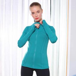 Chaquetas de las señoras online-Mujer Running Jacket 18 colores Zip sólido guante manga de la chaqueta de la yoga de alta elasticidad para deportes al aire libre chaquetas de las señoras de la aptitud al desgaste sudaderas 05