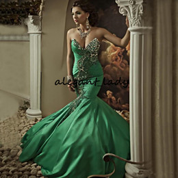 Esmeralda verde laço vestido de baile on-line-Frisado Strass Verde Esmeralda Tafetá Pageant Vestidos Sexy Sereia Querida com Lace-up de Volta Longo Árabe Evening Prom Vestidos
