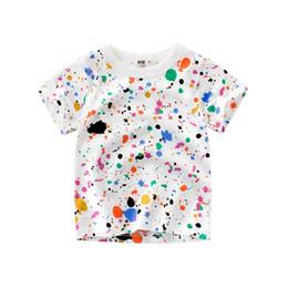 2019 dhl envío gratis ropa de bebé Envío libre de DHL Diseñado Camiseta de los niños Camiseta de algodón de manga corta de verano Tops Niños pequeños Niños bebés Niños Verano Camiseta de verano dhl envío gratis ropa de bebé baratos
