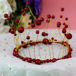 Rote weiße hochzeitstorten online-1 stück Weiß Granat Rot Perle Krone Kuchen Dekor Dessert Ornament Geburtstag Kappe Hut Hochzeit Festival Kinder Geburtstag Party Decor