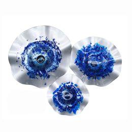 E14 azul on-line-Mão Blown Art Glass Table Platter Prato Tigela cor azul Wall art decoração para a casa e hotel