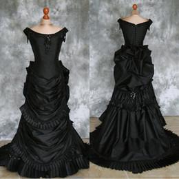Bullicio online-Vestido de boda victoriano de tafetán con cuentas gótico victoriano con tren Vampire Ball Masquerade Halloween Steampunk Goth siglo XIX