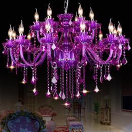 Araña de cristal púrpura comedor online-Purple K9 Crystal Chandelier Lustre Crystal Chandeliers Light Lustres De Cristal Chandelier Salón Comedor Luces de techo LED Villa