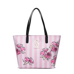 Nouveau À La Mode Simple Femelle Rose Fleur Totes noir rose rayé Dame sac simple Grande Capacité épaule Sac À Main toutes sortes de sac ? partir de fabricateur