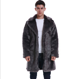 Fake pelz mantel männer online-Neue 2019-Winter-warme Mens Faux-Nerz-Pelz-Mantel-Turn-down-Kragen-Luxus-Pelz-Outwear lang Thick beiläufige lose Männer Fake Fur Coat