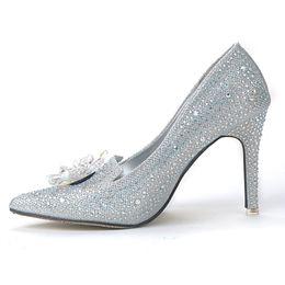 Argentina Zapatos de boda de tacón alto para mujer Zapatos de boda de diamantes de imitación de plata Bombas de plataforma Tacones altos de cristal para fiesta de noche supplier rhinestone wedding shoes silver platform Suministro