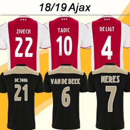 Argentina 2018 19 Camisetas de fútbol Ajax HUNTELAAR TADIC DOLBERG ZIYECH Camisetas de fútbol del hogar lejos de casa NERES DE JONG L.SCHONE DE LIGT Uniformes para hombre cheap ajax shorts shirts Suministro