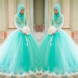 2019 vestidos de fiesta hijab 2019 Nuevo Hijab apliques de encaje vestido de bola árabe elegante de manga larga vestidos de novia azul claro musulmanes islámicos vestidos de novia 2018 rebajas vestidos de fiesta hijab