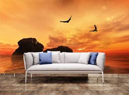 2019 papel de parede cênico Parede da parede 3D Águias voando Home Decor Art Wallpaper Cartaz Imprimir Tapeçaria papel de parede cênico barato