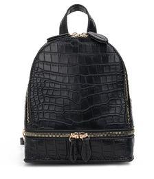 Pacco posteriore in pelle d'epoca online-New Vintage coccodrillo modello PU pelle zaini piccoli per le donne Fashion Zipper Mini Back Pack Sacchetto di spalla delle ragazze zaino