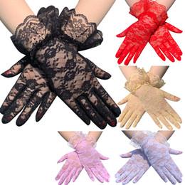 Deutschland Elegante Courtesy-Sommer-Frauen Spitzen Handschuhe Blumenspitze Handschuhe Sonnenschutz Spitze Gesellschaf Handschuhe für Hochzeit Dinner Parties Versorgung
