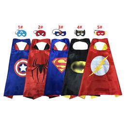 Capa de superhéroe de doble capa de 55 * 70 cm con máscara para niños de 1-4 años Disfraces de superhéroe de satén de calidad superior cosplay cape favores de fiesta desde fabricantes