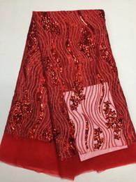 Rouge Africain Dentelle Sequin Tissu 2018 Dernière Français Net Dentelle Tissu Pour Robe De Soirée De Haute Qualité africaine Guipure Dentelle Tissu ADF ? partir de fabricateur