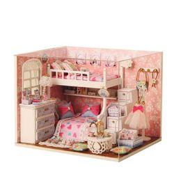 Canada Enfants Bricolage 3D En Bois Maisons De Poupées Jouet À La Main Meubles Miniatura Miniature Maison De Poupée Avec La Lumière Led Assembler Kits Jouets Cadeau Offre