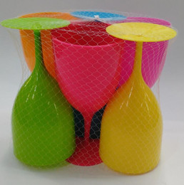 plastikbecher Rabatt 6 stücke 1 satz Plastikbecher tasse Candy Farbe Rotwein Glas tasse Becher Wein Stehbecher Wiederverwendbare tasse LJJK1499