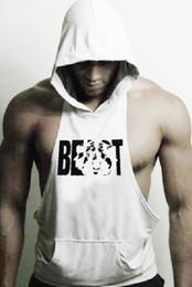 755a55f12b4e7 2019 GYM BEAST Hooded cap Cotton Hoodie Sweatshirts fitness clothes  bodybuilding tank top men Sleeveless Tees Shirt golds Stringer vest