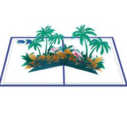 Origami hochzeit pop-up-karten online-Handgemachte Kirigami Origami Flamingo Kokospalme 3D Pop Up Grußkarten Einladungskarte für Hochzeit Geburtstagsfeier Geschenk ZC1189