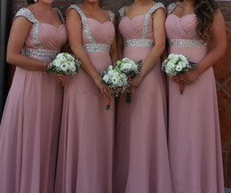 blush beaded bridesmaids dress Coupons - Capped Sweetheart Chiffon Long Bridesmaid Dresses Lace Up 2019 Beaded Party Dress Blush Pink Vestito Damigella Donna