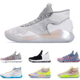 chaussures de basket enfants kd Promotion Nouveau chaussures de basketball pour homme KD 10 12 EYBL 90S KID WARRIORS HOME Wolf Gris UNIVERSITY RED FINALS baskets de sport formateurs taille 7-12