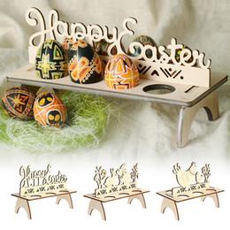 2019 décorations de lapin de pâques Étagères en bois d'oeufs de Pâques pour la fête de Pâques ornement bricolage lapin lettre oeuf support support lapin motif décoration de Pâques pour la maison décorations de lapin de pâques pas cher