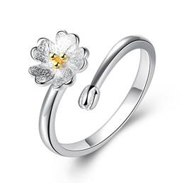 2019 kirschblütenhochzeitsgeschenke 925 Sterling Silber Frauen Ringe Kirschblüten Form Liebe Ring Glück Finger Hochzeitsgeschenk Designer Schmuck günstig kirschblütenhochzeitsgeschenke
