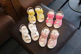 pisos de niñas pies Rebajas Lovely Girls Flats Sandalias Zapatos de verano Crema rosada Pies para niños Longitud interior 13.5-22.5 cm verano moda mariposa pajarita sandalias niñas
