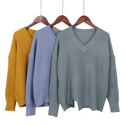 grandes suéteres gruesos Rebajas GIGOGOU Grueso Loose Casual Mujer Pullover Suéter Con Cuello En V De Punto Grueso Outwear Top Tamaño Grande Mujer Suéter Caliente