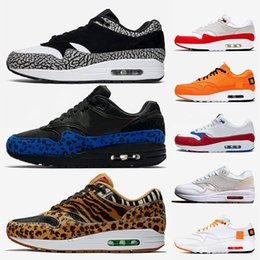 shoe air 87 Promo Codes - Women Mens Cushions Maxes 1 Running Shoes Atmos Animal Pack OG Anniversary Red Royal Blue 87 Parra Top Quality tennis Air Sports Sneakers
