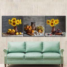 pinturas de frutas Desconto 3 pcs Still life girassóis pinturas para a cozinha frutas decoração da parede moderna arte da lona pictures para sala de estar sem moldura de parede