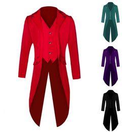 rivestimento di nozze degli uomini d'epoca Sconti Oeak Men Classic Vintage Long Giacche Blazer Autunno Retro Solid Punk Giacca a vento Cappotti Clubwear Plus size Wedding Blazer Tuxedo