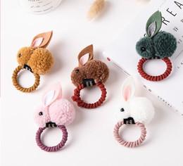 Koreanische babyringe online-Herbst und Winter Haar Ball Kaninchen Haar Ring Mädchen niedlichen Cartoon Krawatte Haar Ornament koreanischen Baby Kopfschmuck Mädchen