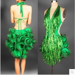 2019 tutu de ballet adulto por atacado Vestido de dança latina verde traje profissional para as mulheres franja samba traje colorido das mulheres salão de baile vestidos de competição borlas