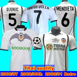 mejor camiseta de futbol blanca Rebajas 2006 07 2000 2001 camiseta de fútbol 2009 90th Valencia retro VICENTE ANGULO MENDIETA 90.o DAVID VILLA 7 camiseta de fútbol Deportes