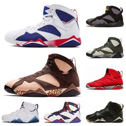 carbone di legna all'ingrosso Sconti air jordan retro 7 Commercio all'ingrosso di New Jumpman OG 7 7s Patta X Icicle Classic Mens scarpe da basket Maglione francese Blu Ray Allen di Raptro Carbone Sneakers Trainers