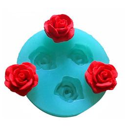 Fiori di fondente torta nuziale online-1Pcs 3D Rose Flowers Chocolate Cake Cake Decorating Tools Stampo in silicone 3D per fondente usato per creare facilmente zucchero versato