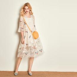 Seidenfee online-New Double Layer Eugene Seidenkleid Vneck Seide bestickt Sommer Fairy Dress