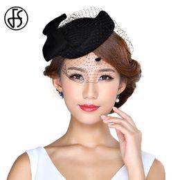 Черные платья онлайн-FS Ladies Elegant 100% Wool Fascinator Base With Veil Bowknot Pillbox Hats Black Red Pink Women  Dresses Vintage Fedoras