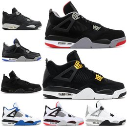 huge selection of 715d7 e807c Nike Air Jordan Retro 4 4s Männer Basketball Schuhe 4 s Pure Geld Gezüchtet  Feuer Rot Weiß Zement Königs Donner High Quality Turnschuhe Sportschuhe