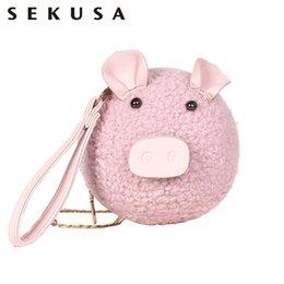 2019 borse animali piccoli Sekusa Animal Pig Design Carino Donne Sera Bgas Piccola Pu Moda Causel Catena Spalla Borse Per Il Partito Frizioni Portafoglio Q190429 borse animali piccoli economici