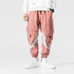 Rosa calças homens on-line-MORUANCLE Moda Masculina Hip Hop Calças De Carga Com Multi-bolsos Rosa Casual Tático Calças Harem Patchwork Elástico Na Cintura