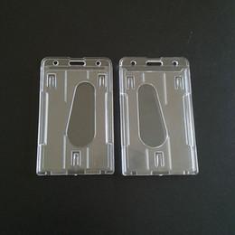 2019 porte-badge Pratique Double Carte Acrylique En Plastique Marque D'affaires ID Badge Titulaire de La Carte Titulaires Pocket Case En Gros ZC0559 porte-badge pas cher